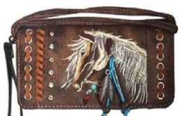 6 of Rhinestone Wallet Purse With Horse Embroidery Brown