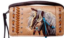 6 of Rhinestone Wallet Purse With Horse Embroidery Tan