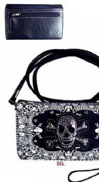 6 of Wallet Purse Long Strap Black And White Skull