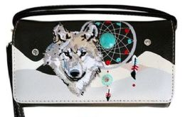 6 of Wallet Purse Long Strap Wolf With Dream Catcher Black