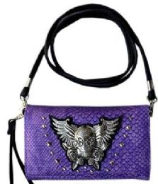 6 of Studded Skull With Wings And Roses Purse Purple Wallet