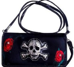 6 of Rhinestone Skull Wallet Purse With Rose