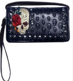 6 of Embroidered Skull With Rose Studded Wallet Purse