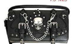 6 of Wallet Purse Long Strap Skull With Chains Black