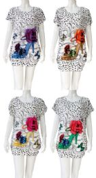 12 of Heel with Flower Rhinestone Shirt Assorted Colors