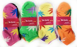 144 of Women Socks With Marijuana Leaves Assorted Colors