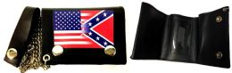 12 of Tri Fold Leather Wallet With Chain USA And Rebel Combo