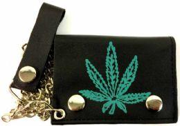 12 of Single Green Marijuana Leaf Leather Trifold Chain wallet