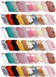 60 of Yacht & Smith Assorted Pack Of Girls Low Cut Printed Ankle Socks Bulk Buy