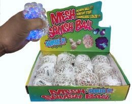 96 of Light Up Clear Squish Ball Star Shaped Glitter Display
