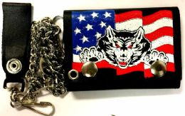 12 of Wolf And USA Flag Tri Fold Chain Leather Wallet