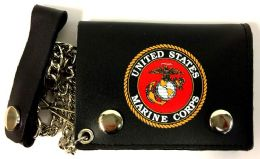 12 of Licensed US Marine Trifold Leather Chain Wallet