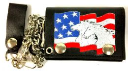12 of Horses On USA Flag Tri Fold Leather Chain Wallet