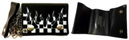 12 of Tri- Fold Leather Chain Wallet Checkered Racing Flames