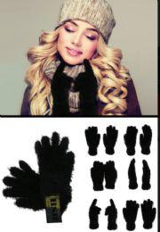 72 of Fuzzy Black Fashion Gloves