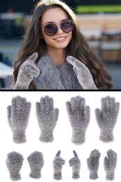 72 of Fuzzy Gray Fashion Winter Gloves