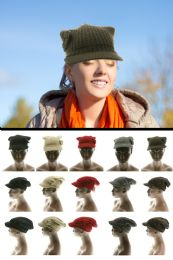 24 of Knit Flower Accent Brimmed knit Hat