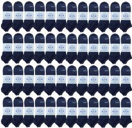 48 of Yacht & Smith Unisex Kids Cotton Shoe Liner Training Socks, No Show, Thin Low Cut Sport Ankle Bulk Socks, 6-8 Navy