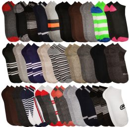 120 of Yacht & Smith Assorted Pack Of Mens Low Cut Printed Ankle Socks Bulk Buy