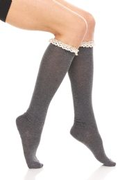 24 of Yacht & Smith 100% Cotton Womens Knee High Socks With Lace Trim, Size 9-11 Assorted Colors