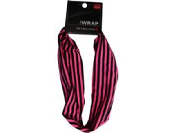 108 of Pink and Black Striped Extra Wide Head Wrap