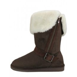 24 of Women's Micro Suede Foldover Warm Winter Boots With Faux Fur Lining and Side Zipper
