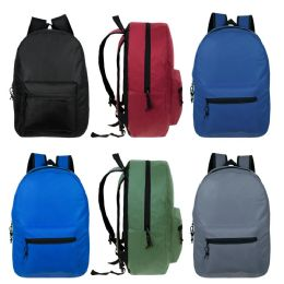 24 of Kids Basic Backpack in 6 Assorted Colors