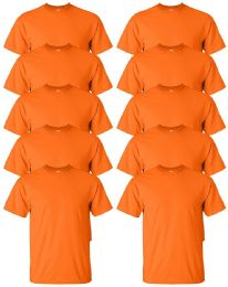 24 of Gildan Mens Orange Cotton Crew Neck Short Sleeve T-Shirts Solid Orange Size 3X