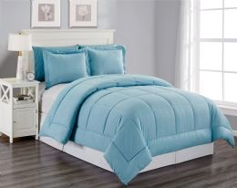 6 of 3 Piece Embossed Comforter Set King Size Plus 2 Shams In Ocean Blue