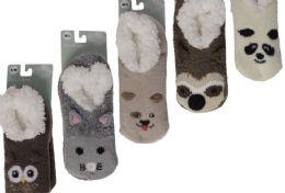 12 of KIDS PILE FUR LINED ANIMAL SLIPPERS ASSORTED BY SNUGGLE FEET