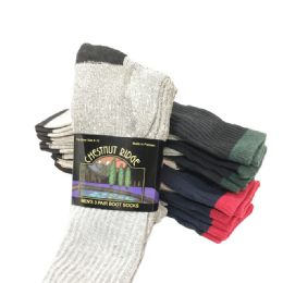 24 of Mens 3 Pack Boot Sock Assorted Colors