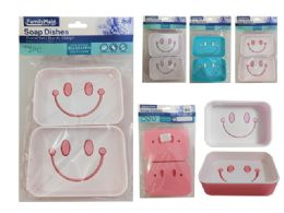 96 of 2 Piece Soap Dish Happy Face