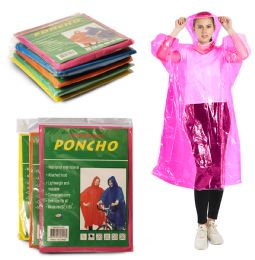 100 of Yacht & Smith Unisex One Size Reusable Rain Poncho Assorted Colors 60G PEVA
