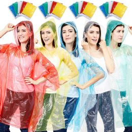 100 of Yacht & Smith Unisex One Size Reusable Rain Poncho Assorted Colors 60G PE