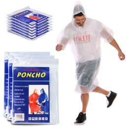 100 of Yacht & Smith Unisex One Size Reusable Rain Poncho Clear 60G PE