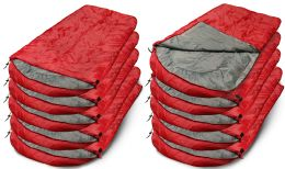 10 of Yacht & Smith Camping Lightweight Sleeping Bag 3 Season Warm & Cool Weather Red