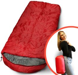 Camping Lightweight Sleeping Bag 3 Season Warm & Cool Weather Red