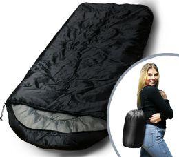 Camping Lightweight Sleeping Bag 3 Season Warm & Cool Weather Black