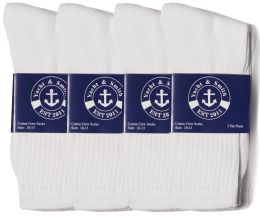 24 of Yacht & Smith Mens Cotton White Crew Socks, Sock Size 10-13
