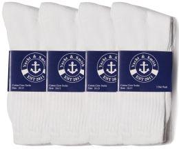 24 of Yacht & Smith Mens Cotton White Crew Socks, Sock Size 10-13