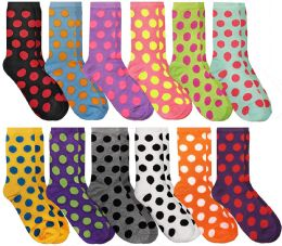 12 of Women's Casual Crew Socks, Cotton Colorful Fun Patterns, Polka Dot Crew Socks Size 9-11