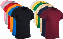 24 of Mens Cotton Short Sleeve T-Shirts, Bulk Crew Tees for Guys, Mixed Bright Colors Size XL