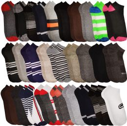 60 of Mens Colorful Assorted Lightweight Low Cut Ankle Socks, Size 10-13