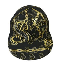 60 of Golden Money Embroidered Fitted Hat Flat Bill Cap