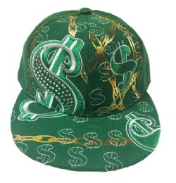 60 of Green Money Embroidered Fitted Hat Flat Bill Cap Size Large