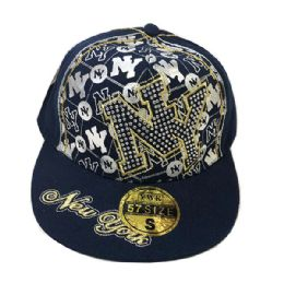 60 of Golden NY Embroidered Fitted Hat Flat Bill Cap