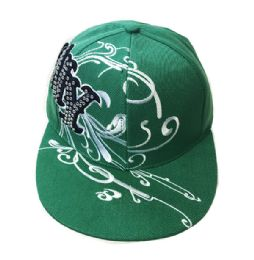 60 of NY Diamond Embroidered Fitted Hat Flat Bill Cap In Green Color