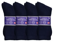 24 of Yacht & Smith Men's King Size Loose Fit Diabetic Crew Socks, Navy, Size 13-16