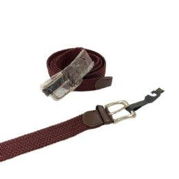 24 of Braided Stretch Belt *brown (all Sizes)