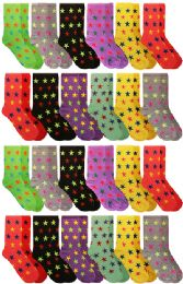 60 of Yacht & Smith Neon Star Print Cotton Crew Socks For Woman, Size 9-11